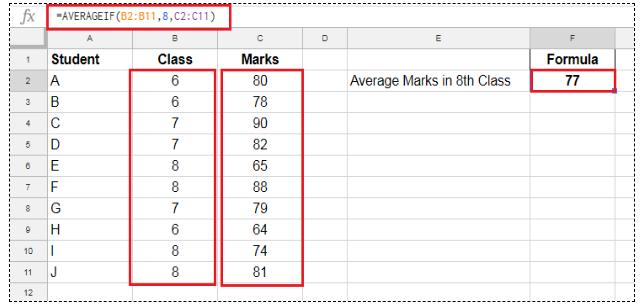 Excel averageif example.
