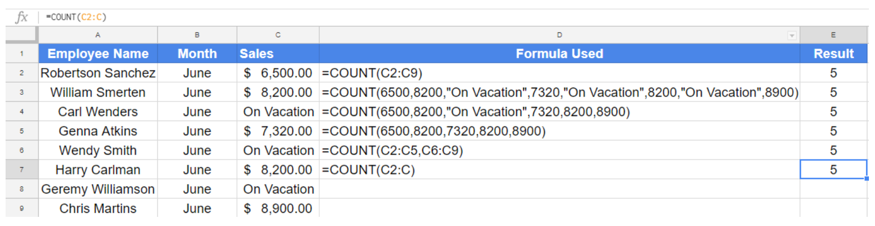 How to Use the Count Function in Google Sheets