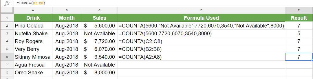 How to Use the COUNTA Function in Google Sheets
