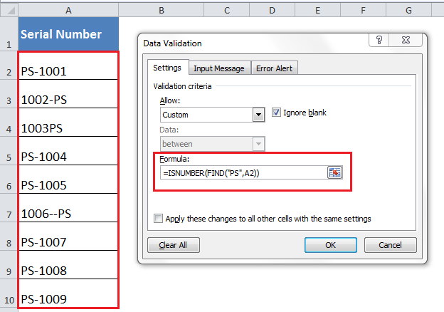 Learn How to Perform Excel DATA VALIDATION Using the ISNUMBER and FIND Function