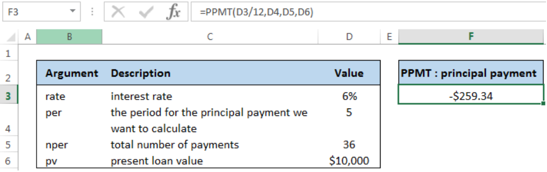 excel formula  calculate principal for given period
