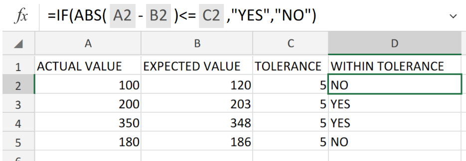 Determine If a Value Is Within a Tolerance in Excel