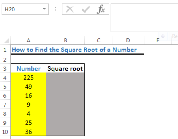 Excel Formula Square Root Of Number Excelchat In other words, a number y whose square (the result of multiplying the number by itself, or y ⋅ y) is x. excel formula square root of number