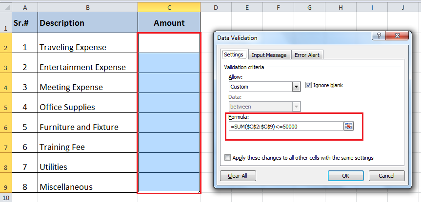 Excel DATA VALIDATION using SUM Function