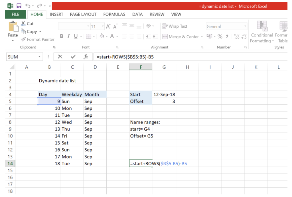 How To Create A Dynamic Date List In Excel Excelchat