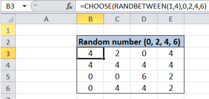 Random number from fixed set of options