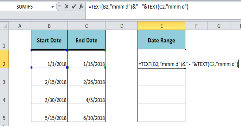 Excel formula: Create date range from two dates - Excelchat