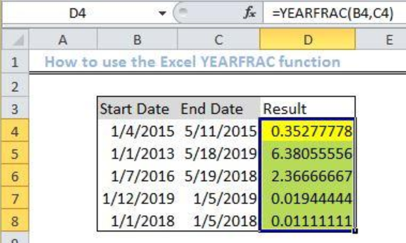 Excel yearfrac function.