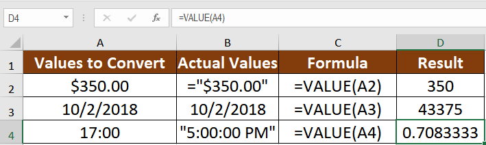 Excel VALUE Function