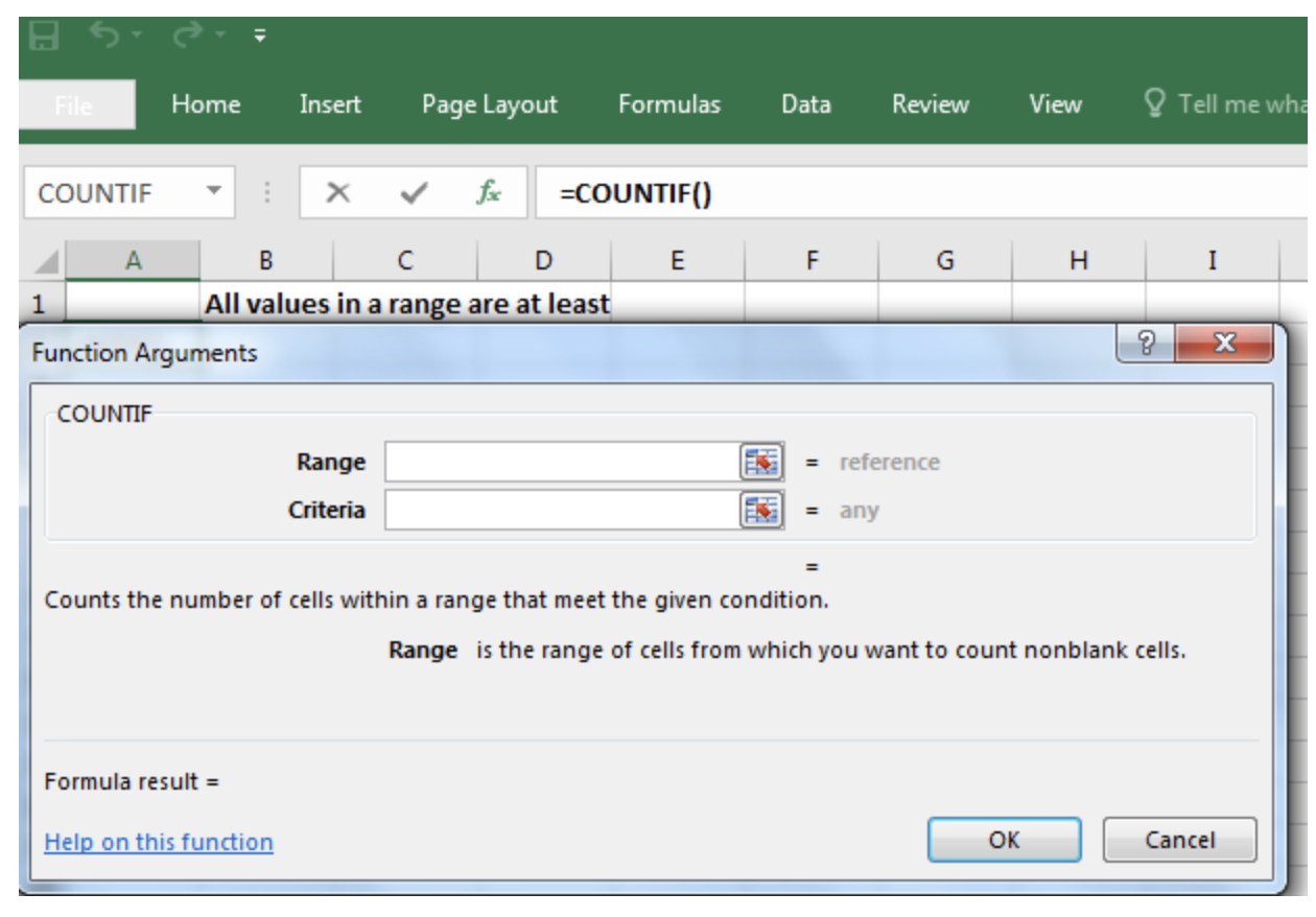 How to Check If All Values in a Range Are at Least a Certain Criteria