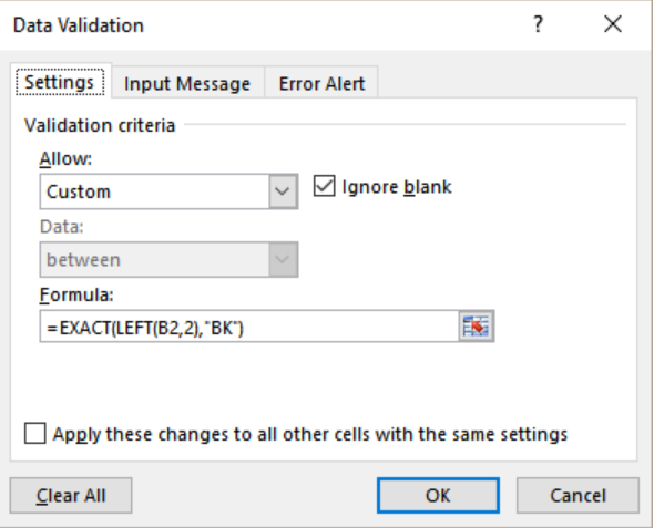 Excel Formula: Data Validation must begin with- Excelchat