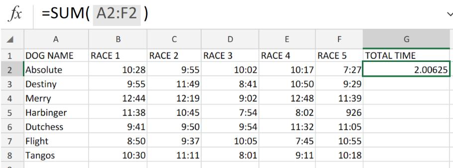 Sum race time splits