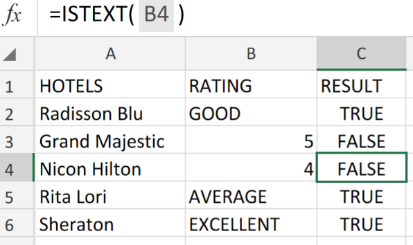 Excel Data Validation Istext Function