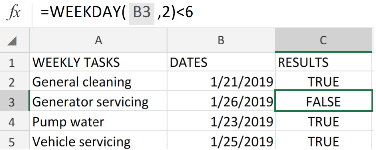 Excel Data Validation Using the WEEKDAY Function