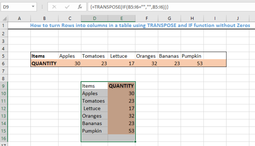 Transpose table without zeros