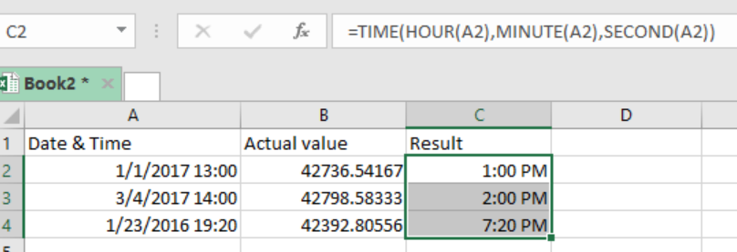 Excel formula: Extract time from a date and time - Excelchat