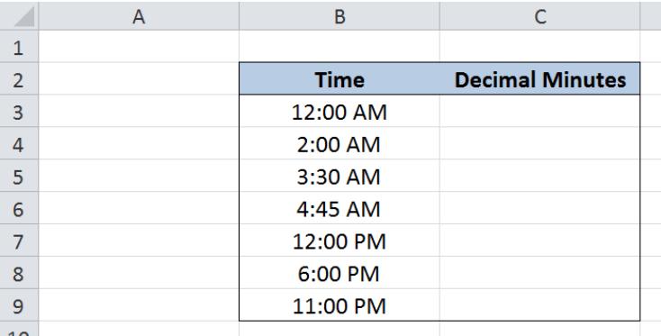 Excel formula: Convert Excel time to decimal minutes