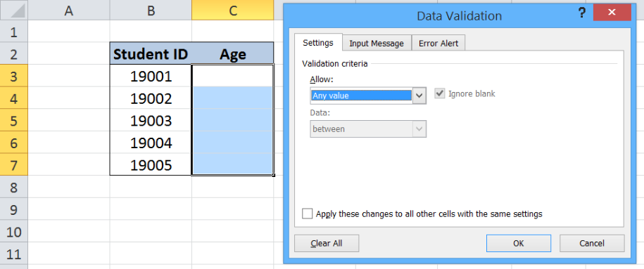 Excel formula: Data validation allow numbers only