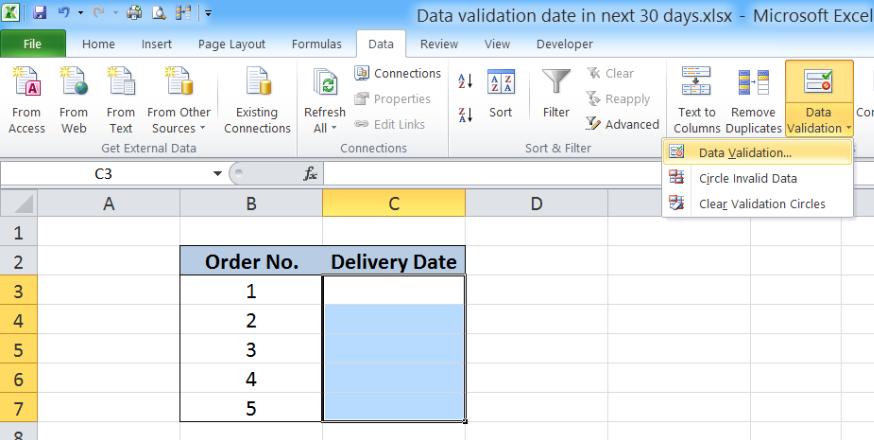 Excel formula: Data validation date in next 30 days