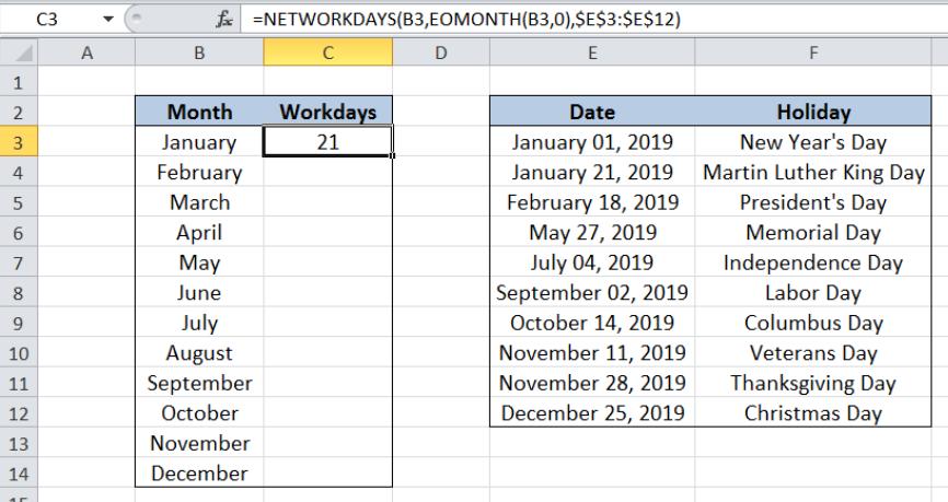 Excel Formula Workdays Per Month