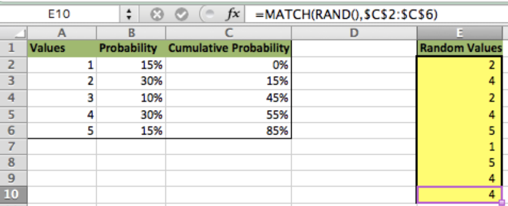 Using Excel to Calculate Random Number Weighted Probability