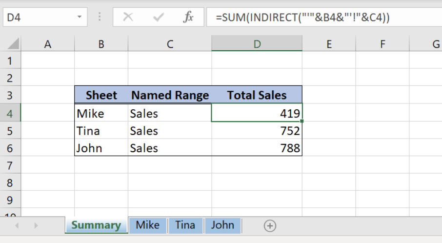 Indirect Named Range Different Sheet - Excelchat