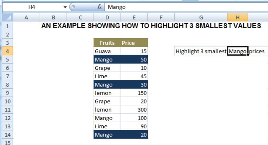 How to Highlight the 3 Smallest Values with Criteria in Excel