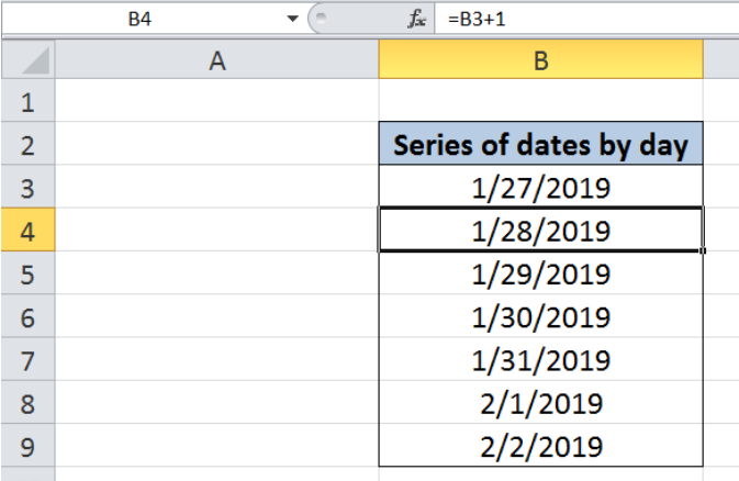 Series of dates by day