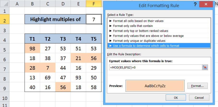 Highlight multiples of specific value