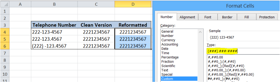 Excel formula: Clean and reformat telephone numbers - Excelchat
