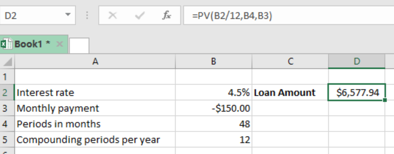 Interest rate example in excel.
