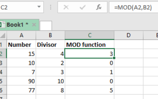 MOD function in excel.