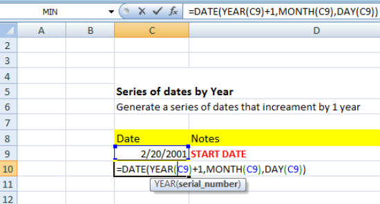Series of dates by year