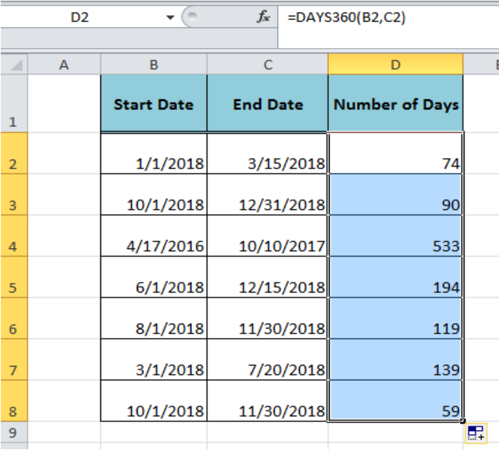 How to use the Excel DAYS360 function
