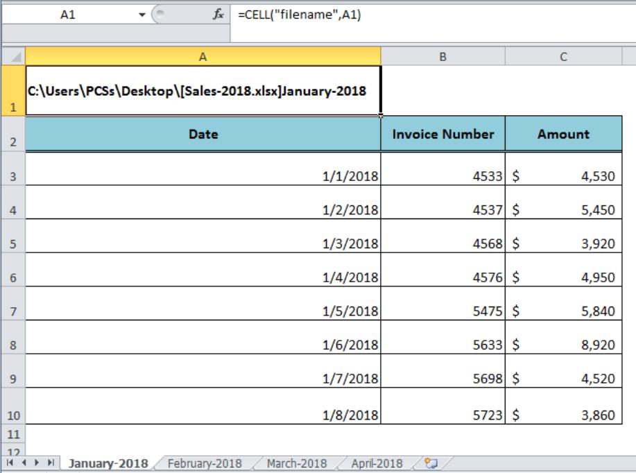 Excel formula: Get sheet name only