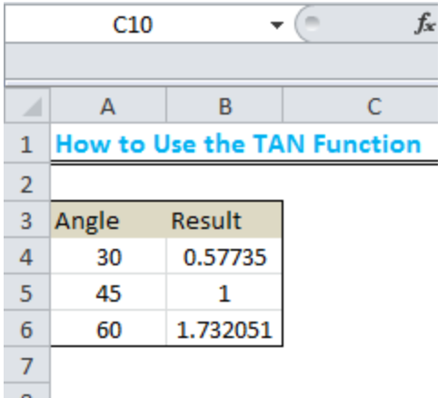 Learn How to Use the TAN Function in Excel