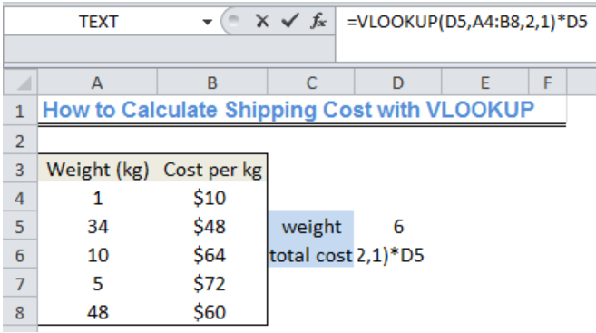 Excel formula: Calculate shipping cost with VLOOKUP - Excelchat