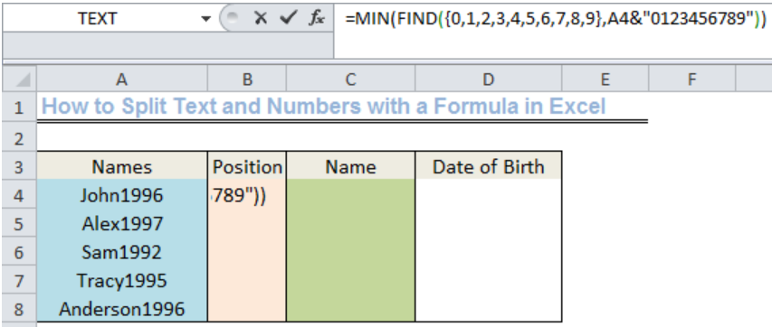 Excel formula: Split text and numbers