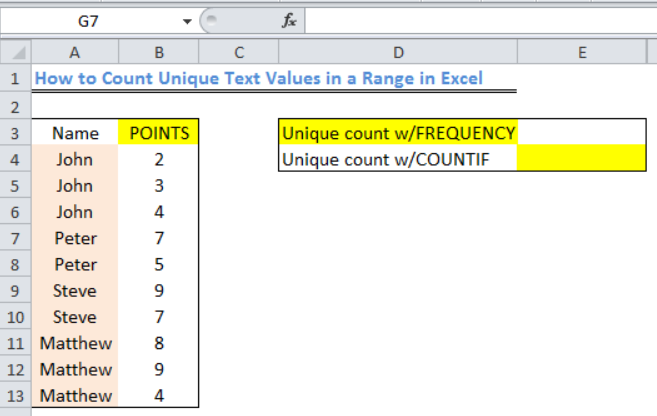 Excel formula: Count unique text values in a range