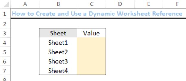 Excel formula: Dynamic worksheet reference
