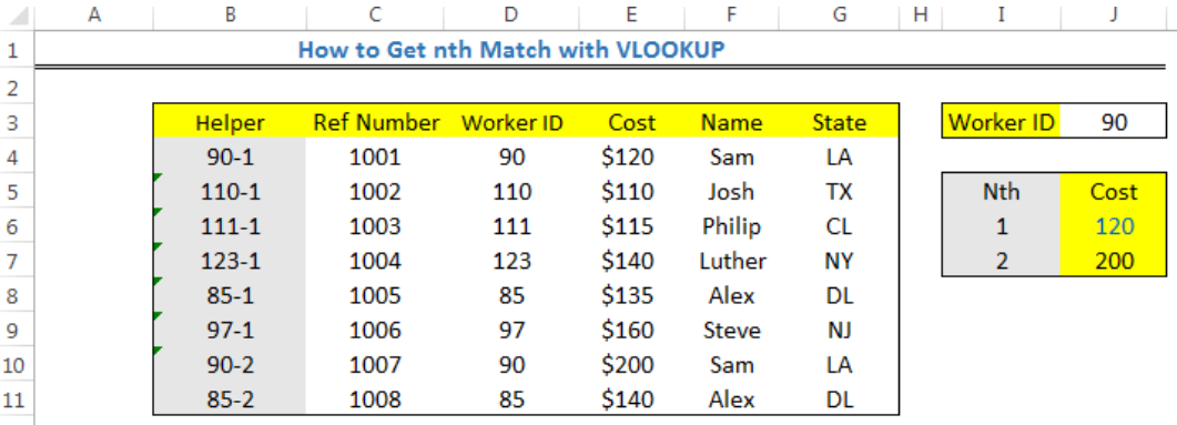 How to Get the nth Match with VLOOKUP in Excel