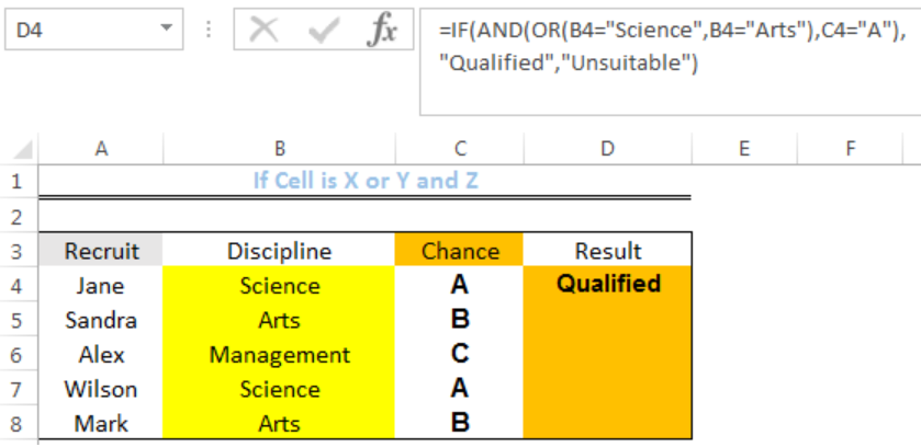 IF AND OR function in excel.