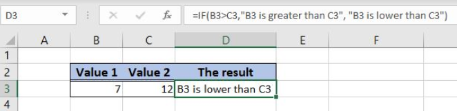 IF function in excel.