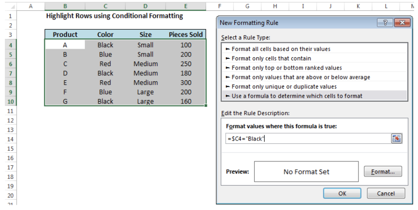 Use Conditional Formatting to Highlight a Row or Column