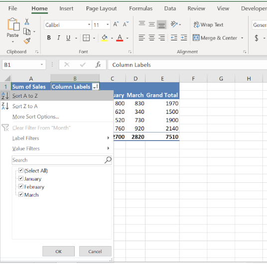 Excel sheet with sort box open.