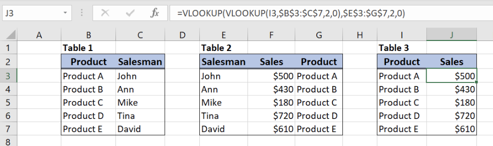Vlookup example with three tables.