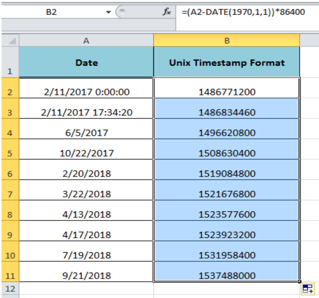 How to Convert a Date to Unix Format in Excel | Excelchat