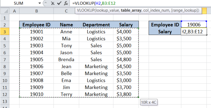 VLOOKUP with Table Array: 5 Best Practices | Excelchat