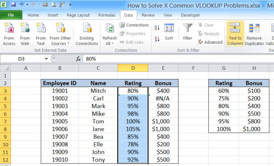 How to Solve 5 Common VLOOKUP Problems | Excelchat