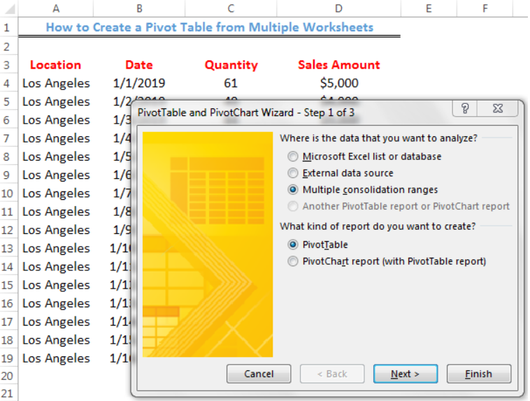 How to Create a Pivot Table from Multiple Worksheets | Excelchat